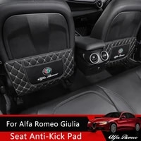 qhcp car rear seat antikick pad rear backrest seat protection mat microfiber leather black red accessories for alfa romeo giulia