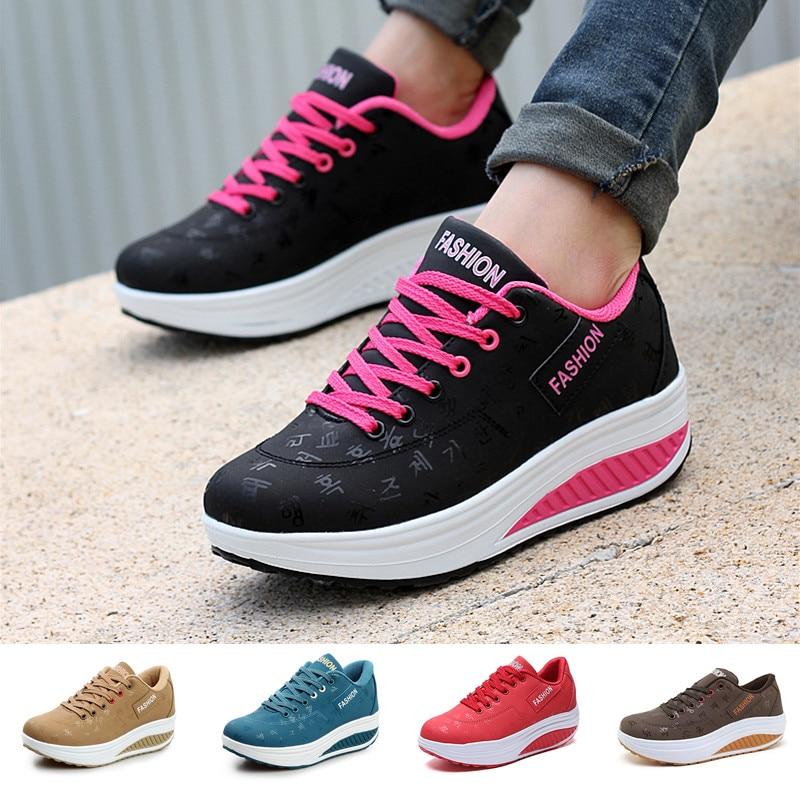 Shake Toning Shoes Women Platform Waterproof Ladies Wedge Sneakers Lace Up Fitness Height Increasing Walking Swing Shoes