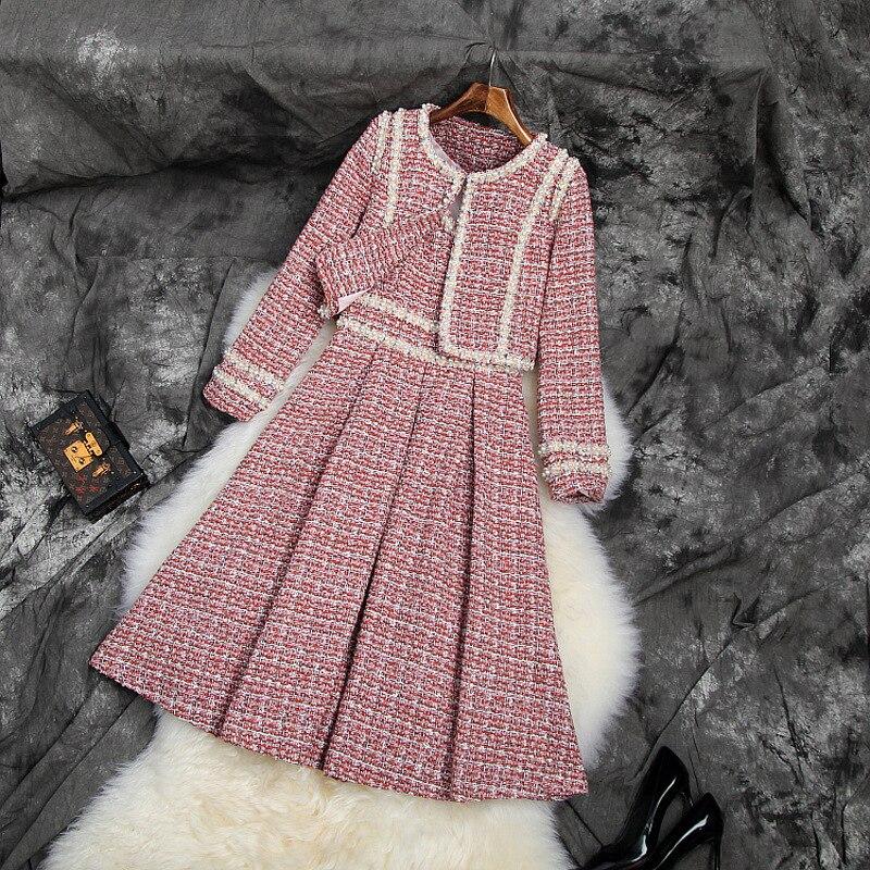 Banulin شتاء جديد موضة المرأة تويد معطف قصير واللباس قطعتين دعوى عالية الجودة المرأة الديكور فستان 2 قطعة مجموعات