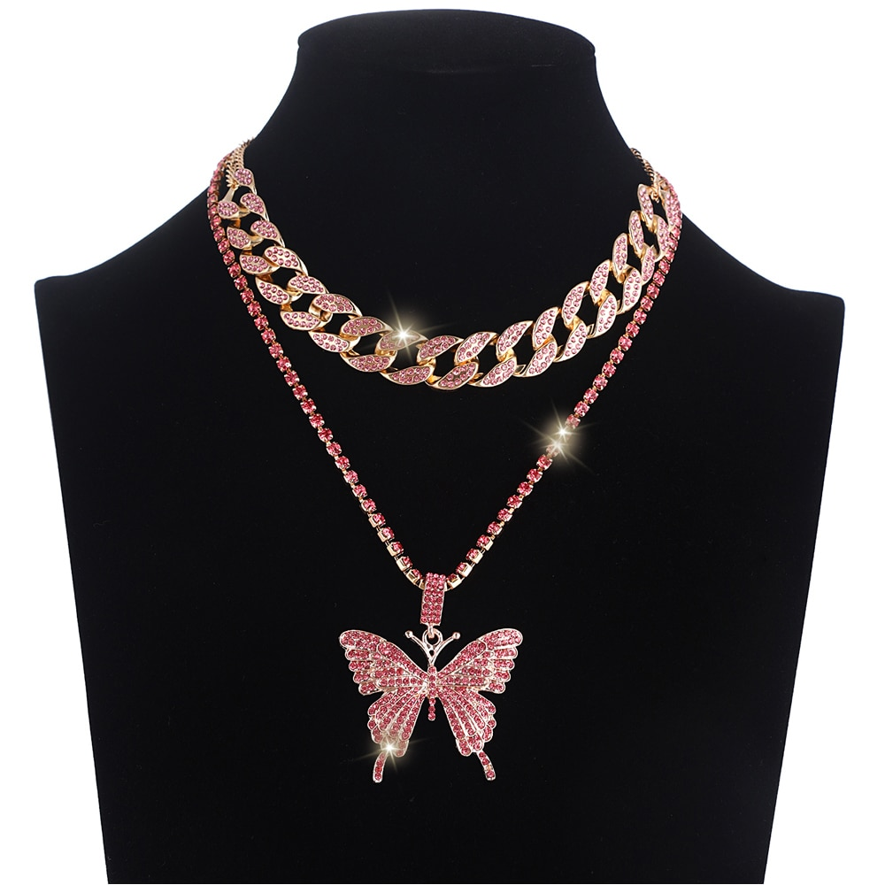 aliexpress.com - Iced Out Butterfly Necklace Set Cuban Link Chain Choker Necklace Gifts for Women Butterfly Chains Bling Hip Hop Pendant Jewelry