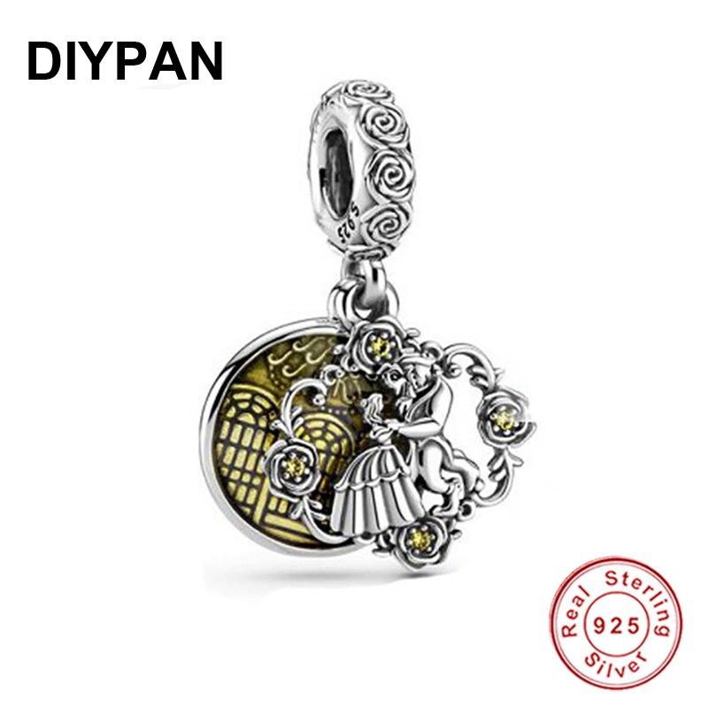 AliExpress - Beauty and the Beast Dangle Charm Pendant Fit Pandora Original Bracelet Charm 925 Sterling Silver Charm Women Jewelry Berloque