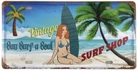 vintage beach tin sign license plate surf shop board girl tin sign for home decor wall plaque 30x15cm