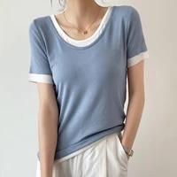 new fake two piece womens t shirt cotton short sleeve tshirt korean fashion women clothes solid slim o neck blue top summer