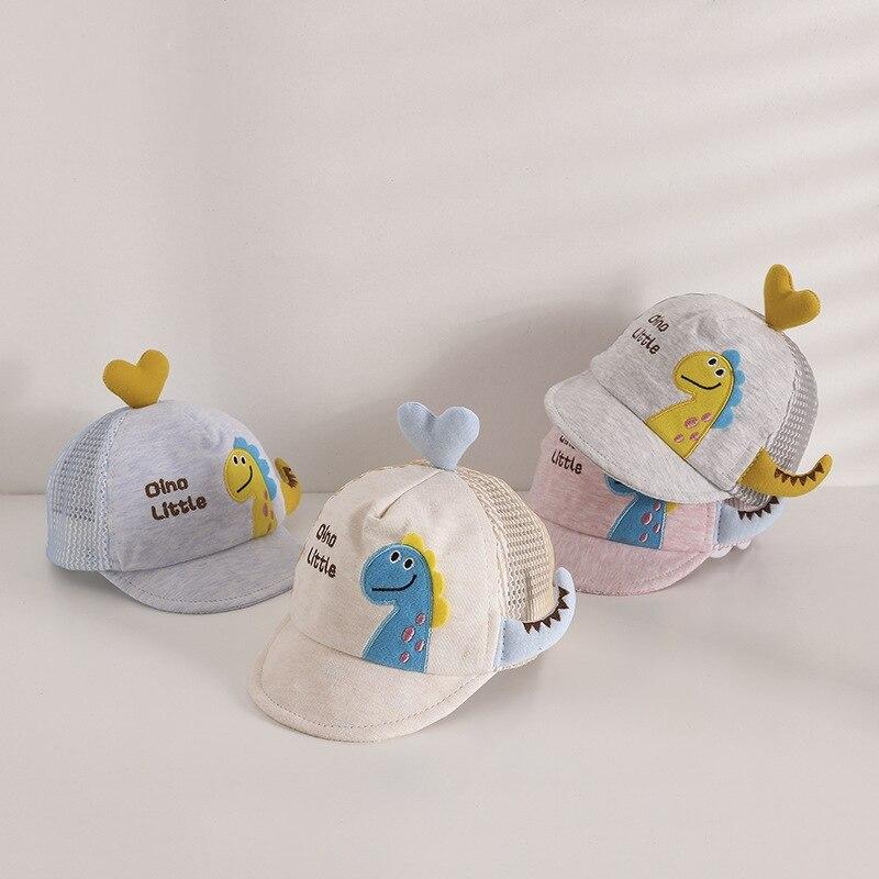 Детская кепка с козырьком, летняя детская Солнцезащитная шапка для отдыха, милая шапка с трехмерным любовным динозавром, дышащая сетчатая ш...