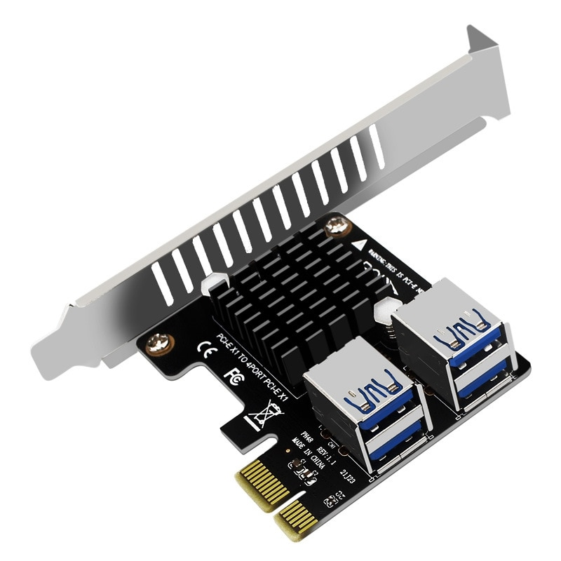 NEW-PCI-E بطاقة التوسع سطح المكتب PCI-E 1X إلى 4-Port PCIE ASM1184E بطاقة توسيع الارتفاع الكامل لمعدات تعدين البيتكوين