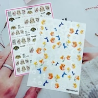 beauty girl and mermaid nail art sticker self adhesive transfer decal 3d slider diy tips nail art decoration manicure package