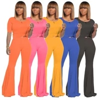 summer fashionable sets women skinny bell bottoms 2 pieces suits sporty crew short sleeve bodycon flare romper slim bodysuit