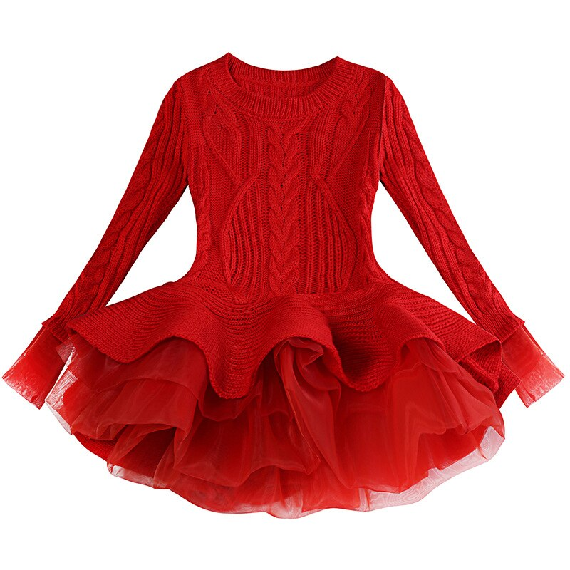 Noël hiver robe laine tricot nouvel an à manches longues robe princesse enfants noël rouge enfant en bas âge merveille 5t fille robe