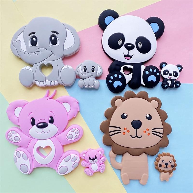 2 pçs/set roedor bebê silicone mordedor leão panda contas de silicone diy chupeta corrente molar brinquedo perle silicone bebê produtos