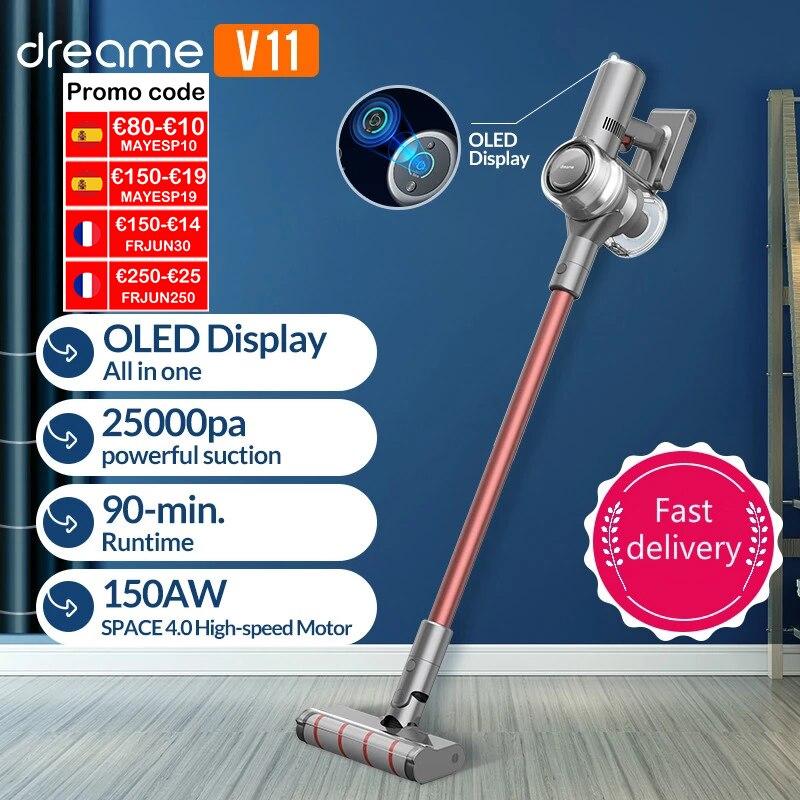 【Promo Code -€19 : MAYESP19】Dreame-Aspirador inalámbrico portátil V11, aspiradora con pantalla OLED, 25kPa, todo en uno, recoge polvo, barre la alfombra del hogar