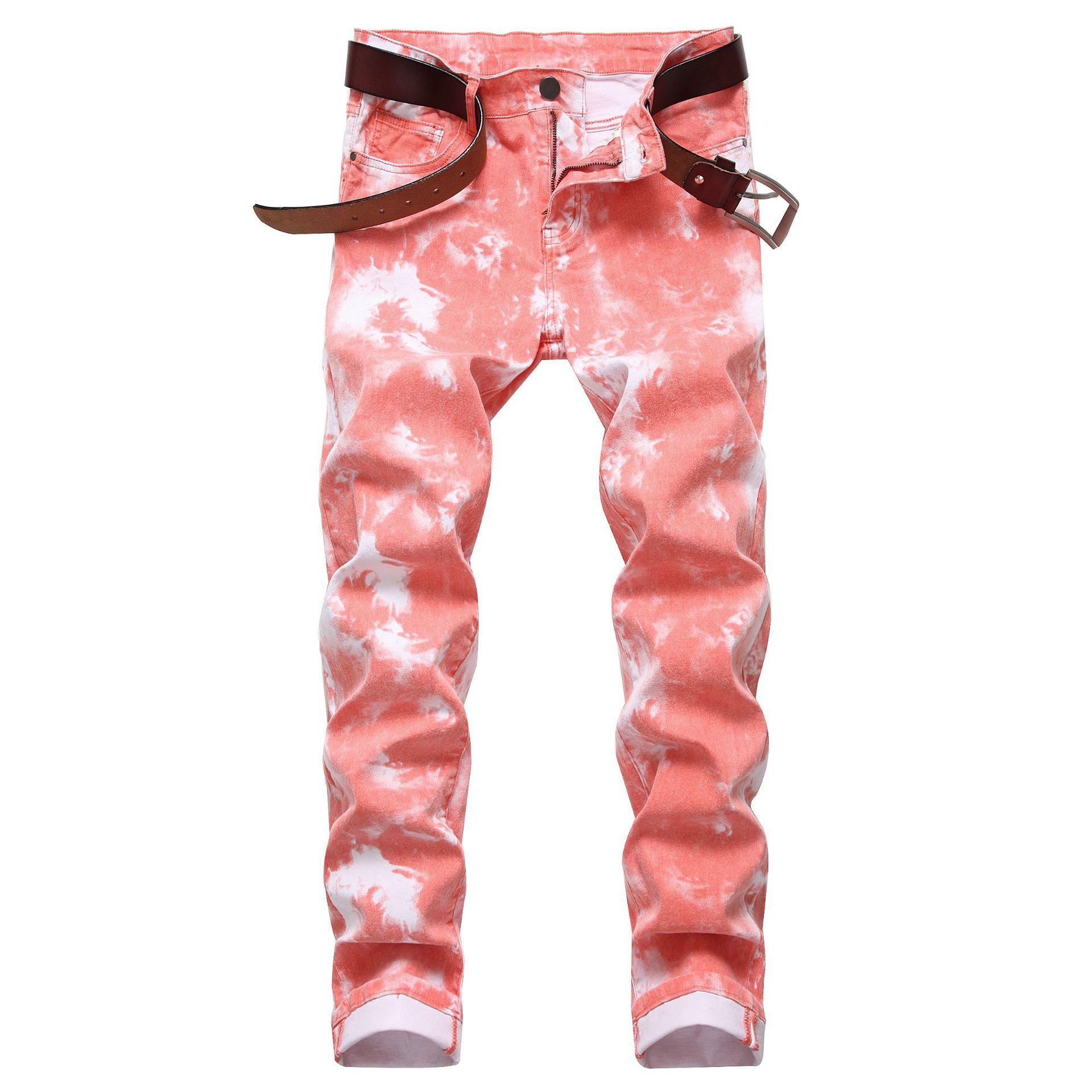 Pantalones Vaqueros de colores para Hombre, Jeans ajustados elásticos rectos de motorista,...