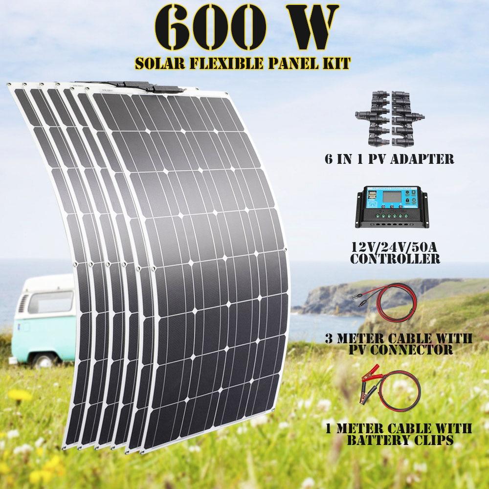 600 واط 12 فولت أنظمة الطاقة الشمسية تخييم 1000 واط لوحات مرنة 300 واط كاملة لتقوم بها بنفسك مجموعات مولد الطاقة المنزلية قافلة الفقرة حالة بلاسا 100...