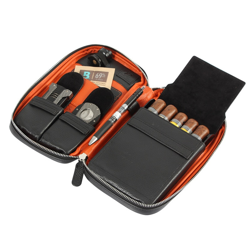 Leather Cigar Holder Case Travel Humidor Box Portable Bag  Box Fit 5 COHIBA Cigars  Smoking Accessories enlarge