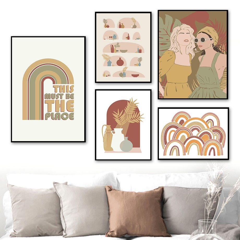 AliExpress - Boho Rainbow Bowl Vase Girl Monstera leaf Wall Art Canvas Painting Nordic Posters And Prints Wall Pictures For Living Room Decor