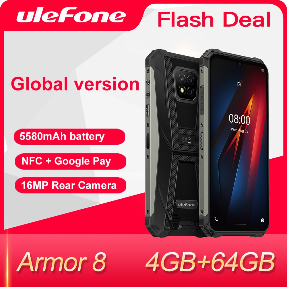 Ulefone Armor 8-هاتف ذكي متين يعمل بنظام أندرويد 10, Helio P60 4GB + 64GB ، ثماني النواة ، 6.1 بوصة ، مقاوم للماء