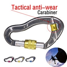 D-Shape Climbing Carabiner Screw Outdoor rock climbing main lock D-shaped thread buckle Tactical anti-wear rope main lock A1