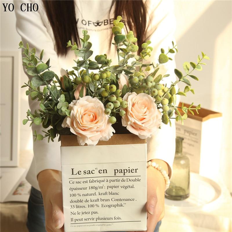 Yo cho 1 buquê de seda artificial rosa verde eucylaptus folhas falso flor e folhas festa de casamento em casa vaso decoração pequeno bouquet
