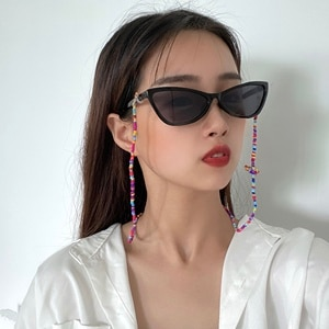 SHIXIN Fashion Small Beads Glasses Chain for Women Rainbow/White/Black Sunglasses Chain Spectacle Cord Sunglasses Holder Glasses