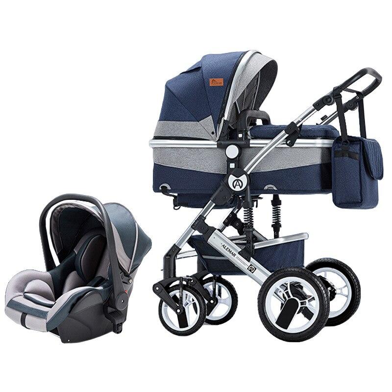 عربة طفل 3 في 1 مع مقاعد السيارة نظام السفر عالية المشهد عربة متعددة مع مهد طفل عربة الوليد 3 في 1
