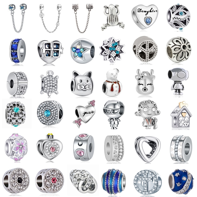 New Original Silver Color Necklaces Accessories Beads Fit Pandora Charms Bracelets Beads for Women DIY Jewelry Gifts