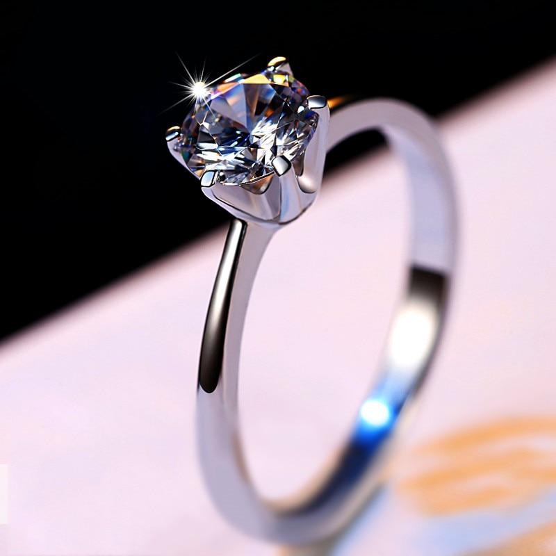 Luksusowe kobiece małe CZ kamienny pierścień prawdziwe 925 srebro pierścionek zaręczynowy Solitaire obrączki dla kobiet