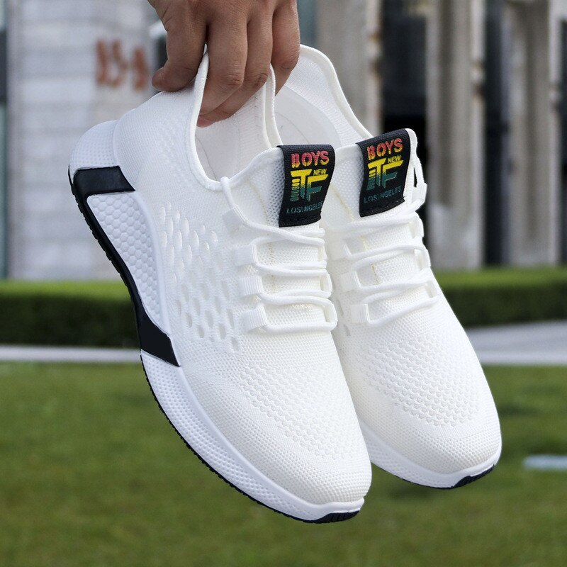 ¡Novedad de 2020! Zapatos de deportes nuevos, zapatos de malla informales transpirables para hombre, zapatos antideslizantes de suela baja con cordones de confort, zapatillas para correr