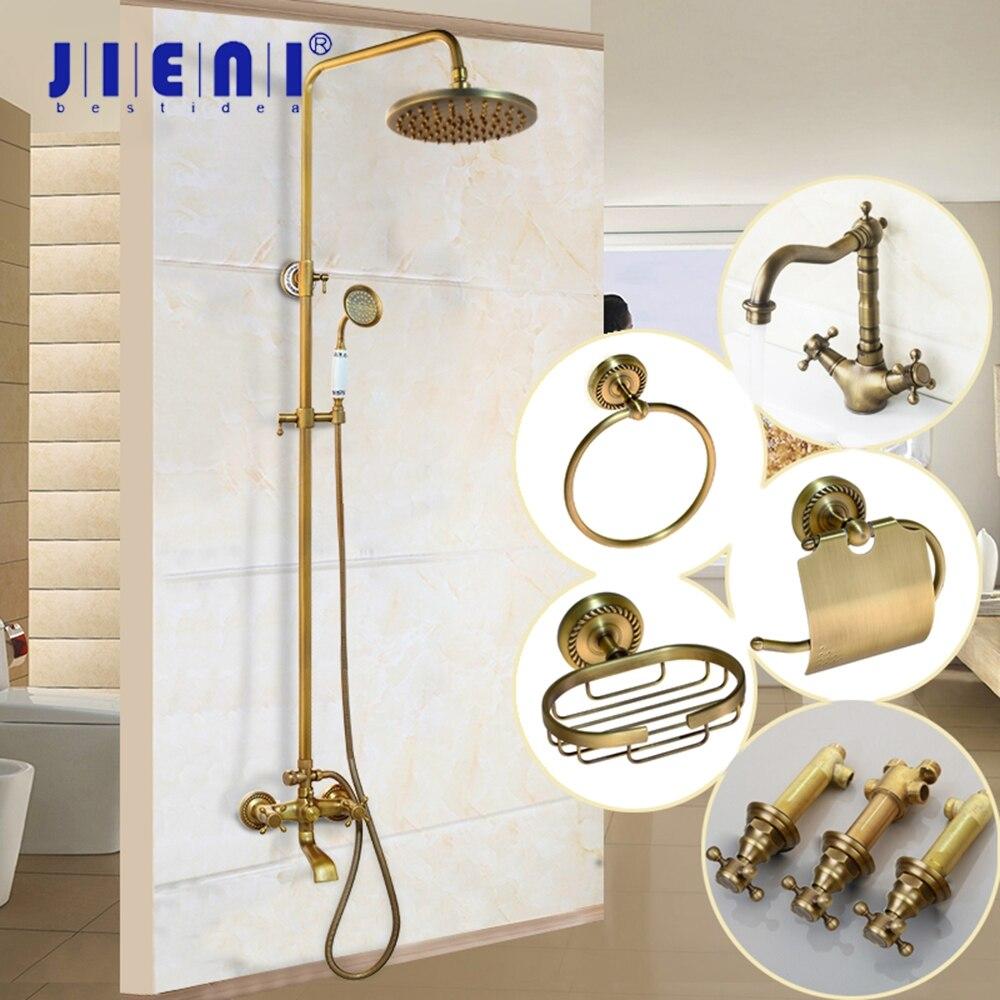 JIENI-رأس دش نحاسي عتيق ، 8 بوصة ، مجموعة صنبور خلاط للحمام مع بخاخ يدوي