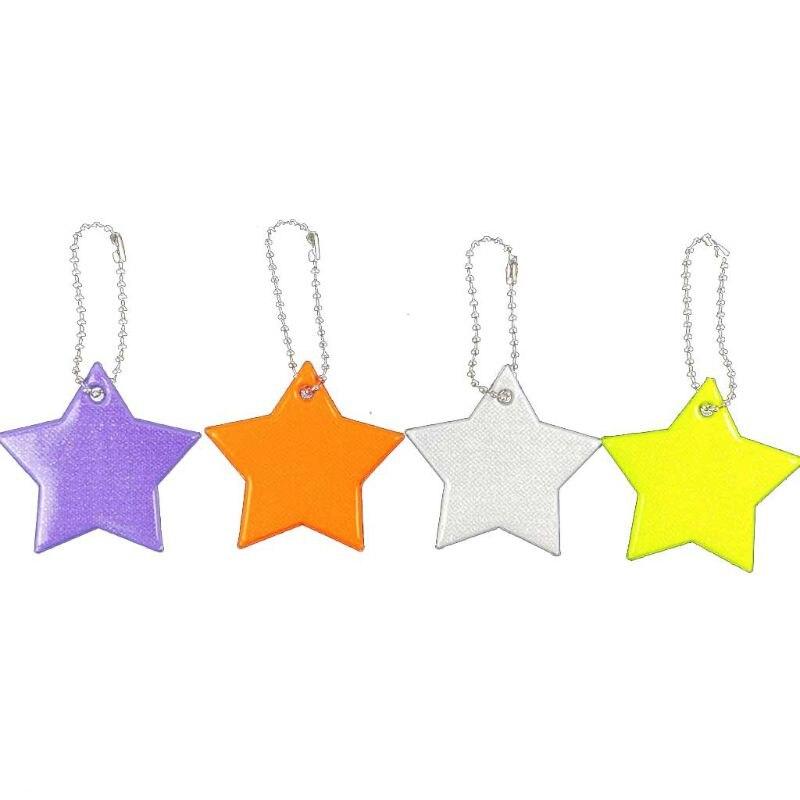 Child Safety Reflector Key Ring Star Ultra Reflective Gear Keychain Bag Clothing