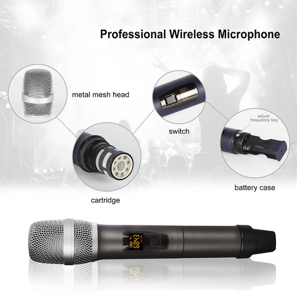 Wireless Microphone Dual Channels UHF Anti-Howling Handheld Professional Chargeable Receiver Dynamic Mic for Karaoke enlarge