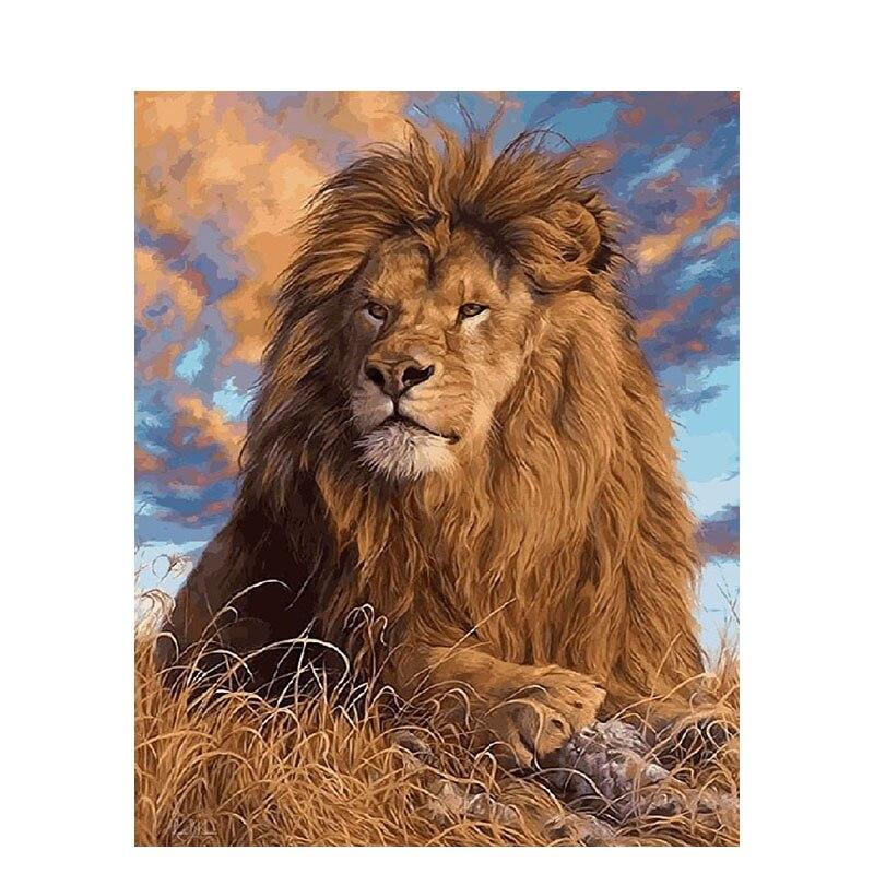 GATYZTORY нулевая основа DIY живопись по номерам ручная роспись Картина маслом Лев на заказ окраска домашний декор ручной работы подарок