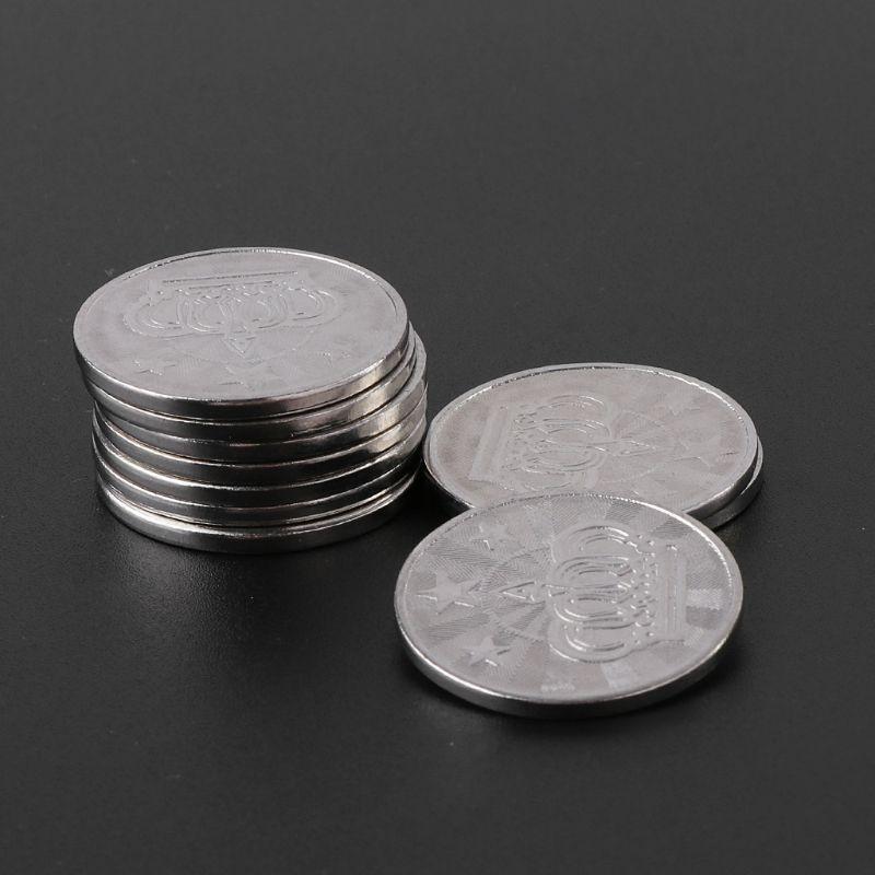 10 piezas 25*2mm Juego Token Acero inoxidable Arcade juego moneda pentagrama corona fichas