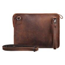 Norbinus Brand Crazy Horse Genuine Leather A4 File Wristlet Clutch Ipad Pack Men's Shoulder Crossbody Bag Men Messenger Bags
