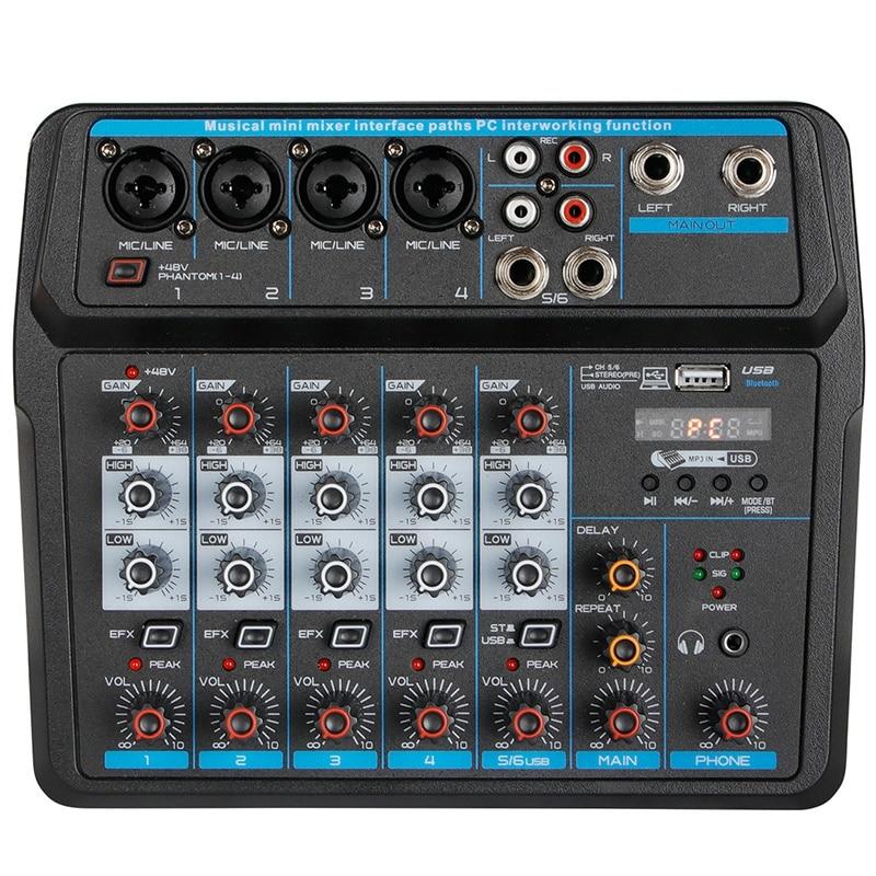 M-6 خلاط صغير محمول س DJ وحدة التحكم مع كارت الصوت ، USB ، 48 فولت قوة الوهمية لتسجيل الكمبيوتر الغناء حفلة البث (الولايات المتحدة التوصيل)
