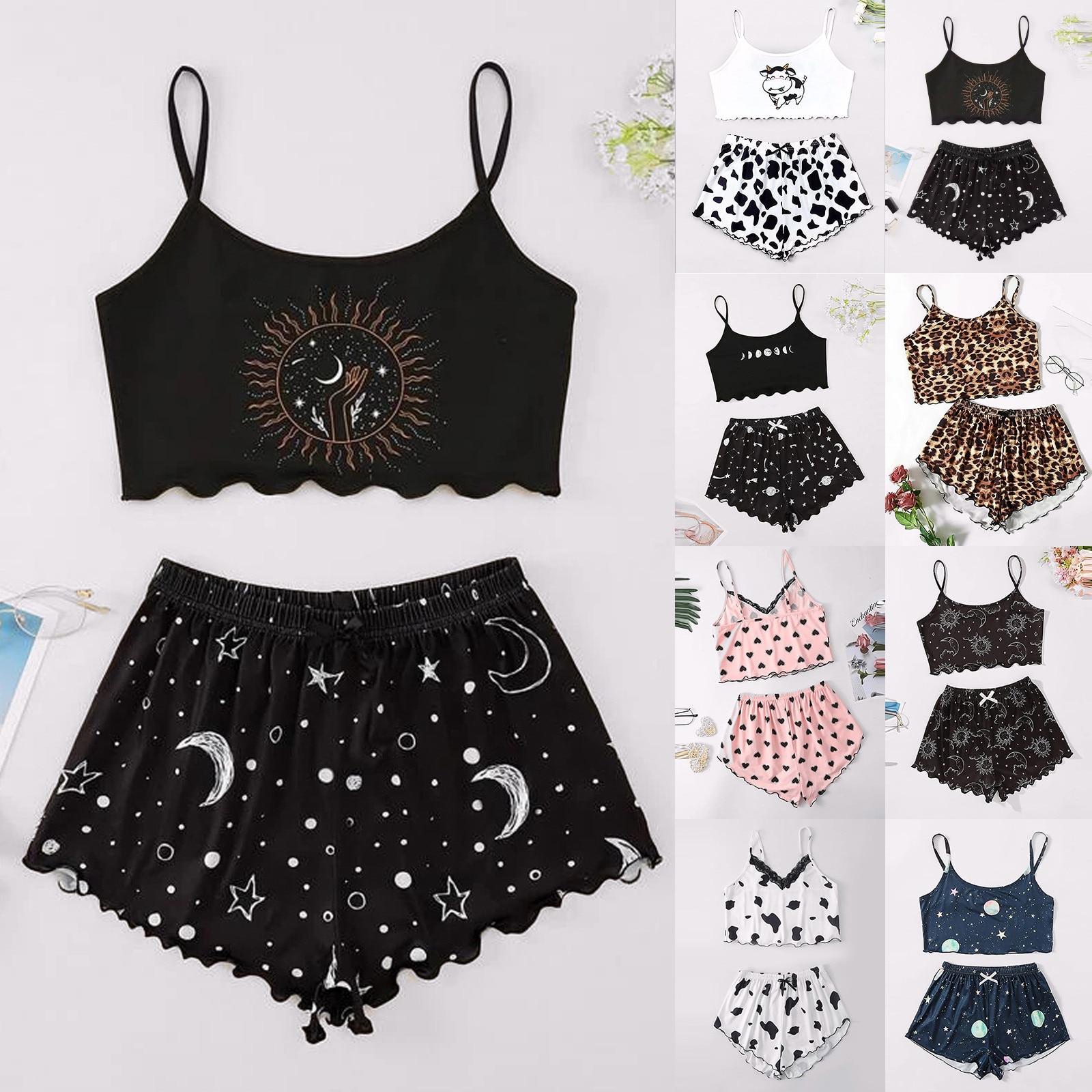 Moon Print Pajama Sets Women Fashion Sets Wear Lounge Wear Home Sleep Set Camisole Tops+Pants Ramada