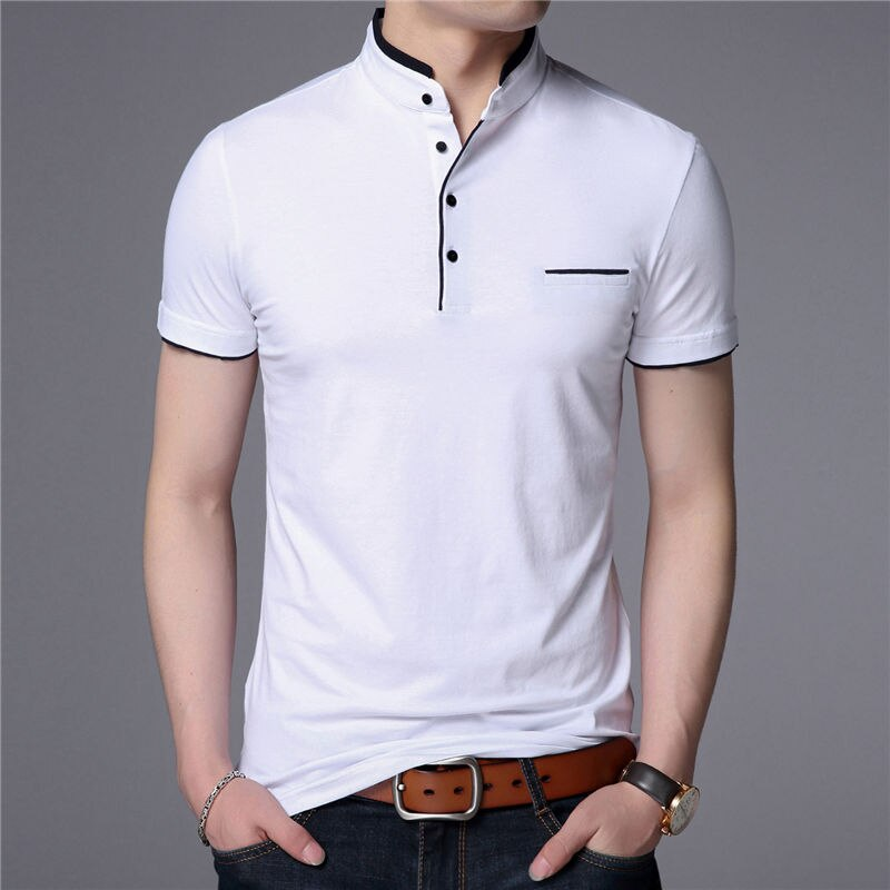 Neue Mandarin Kragen Shorts Hülse T Hemd Männer 2020 Frühling Sommer Neue Top Männer Marke Kleidung Slim Fit Baumwolle T-Shirts g063