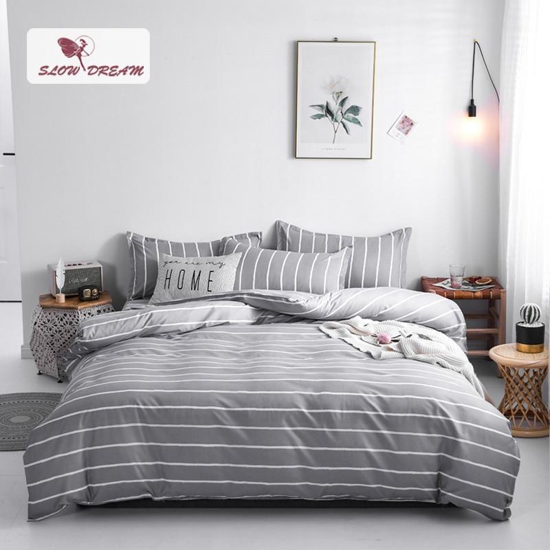 Conjunto de ropa de cama de Pritend a rayas de moda, edredón gris, edredón, juego de cama doble plana, venta al por mayor