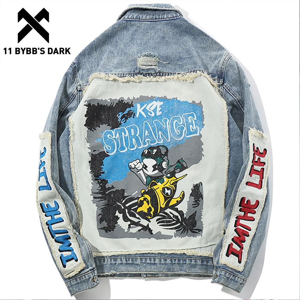 11 BYBBS DARK Hip Hop Jeans Denim Jackets Coats Men 3d Cartoon Patch Design High Fashion Streetwear Male Urban Outwear Jacket