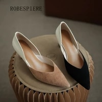robespiere 2021new leather simple womens shoes color matching fashion single shoes horseshoe pointed high heels a200