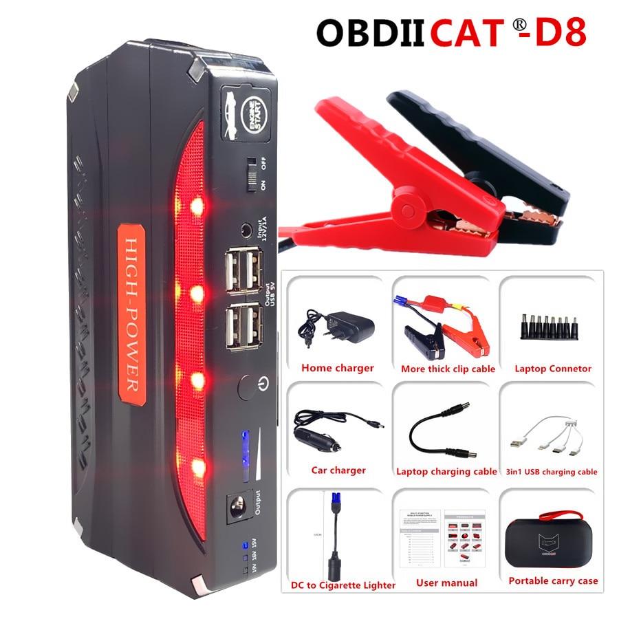 OBDIICAT-D8 Auto Starthilfe Auto Notfall 12V Auto Batterie Starthilfe Booster Tragbare Power Bank 600A Spitzenstrom Funktionale