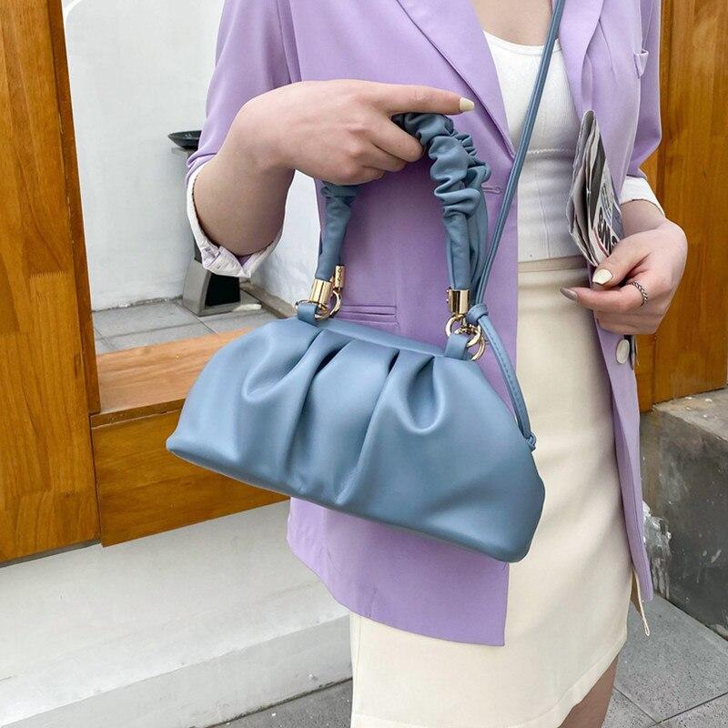 Small Pleated Dumpling Tote Bags Women Soft Leather Shoulder Bag Fashion Cloud Handbag Female Elegant Solid Color Crossbody Bag