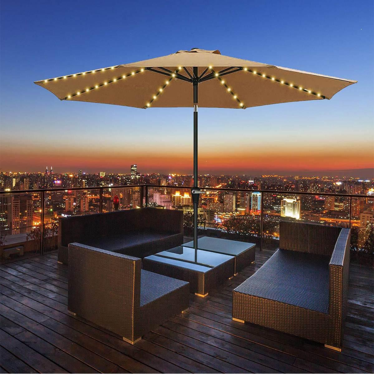104, sombrilla LED para Patio, sombrilla de jardín, lámpara de cadena LED IP67, Iluminación para exteriores impermeable, luz de decoración Flexible