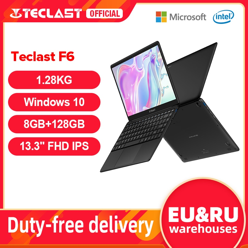 Teclast F6 Newest Laptop 8GB LPDDR4 128GB SSD 1.28KG Notebook 13.3'' IPS 1920x1080 Intel Apollo Lake Windows 10 Laptops USB3.0