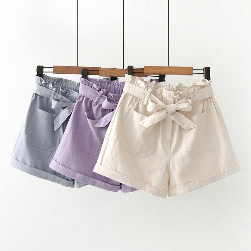 Women Solid Shorts High Waist Elastic Waist Bowknot 2020 Summer Casual Loose Wide Leg Shorts Sweet Stye Ladies Bottoms