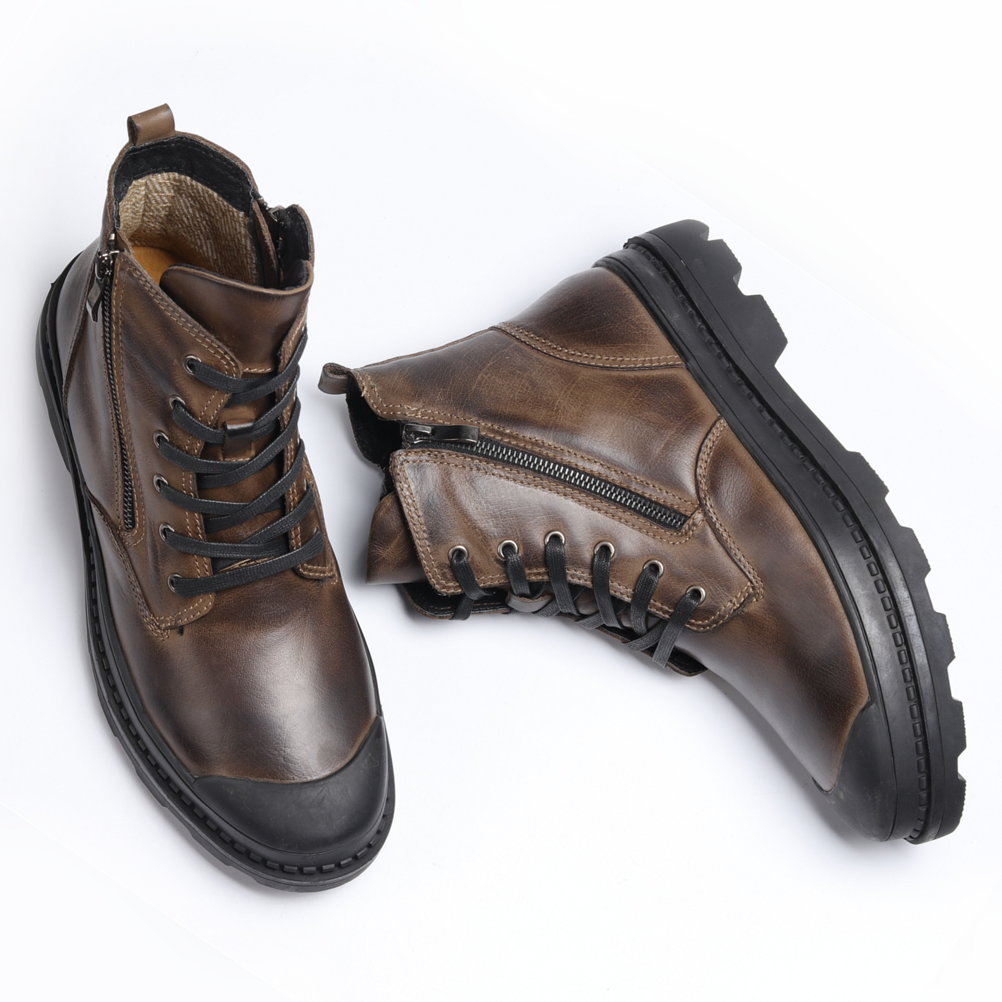 Natural Cow Leather Men Winter Boots Handmade Retro Men Boots Genuine Leather Men Winter Shoes #CX9550