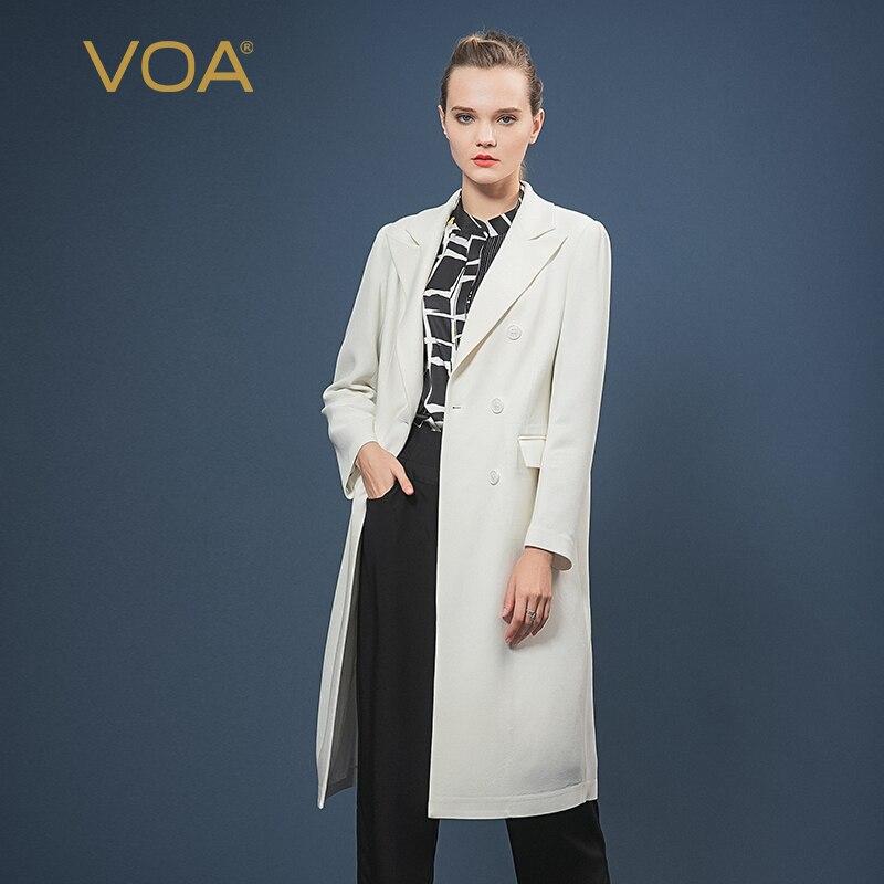 VOA 60 متر/شهر طويلة الأكمام الحرير الأبيض طية صدر السترة طوق طويل الأكمام صف مزدوج زر غطاء جيب عودة الشق منتصف طول خندق معطف F596