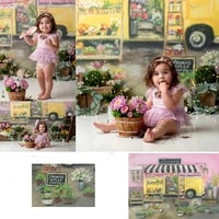 flower truck store backdrop photography for child kids pink floral watercolor background decorations girl photocall photophone
