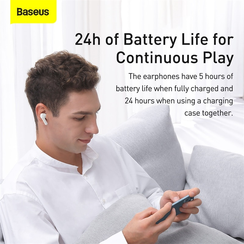 Baseus S1 TWS Wireless Earphones Bluetooth 5.1 Headphones ANC Active Noise Cancellation Stereo Touch Earphone Earbuds For iPhone enlarge