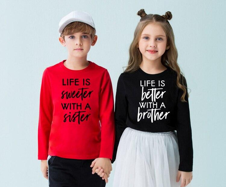 Жизнь лучше/слаще с братом/сестренкой смешные дети братья сестры двоюродные сестры Близнецы футболка с длинным рукавом модные футболки для малышей