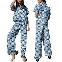 2 pcs women printed pajamas adults button down short sleeve turn down collar shirt wide leg pants