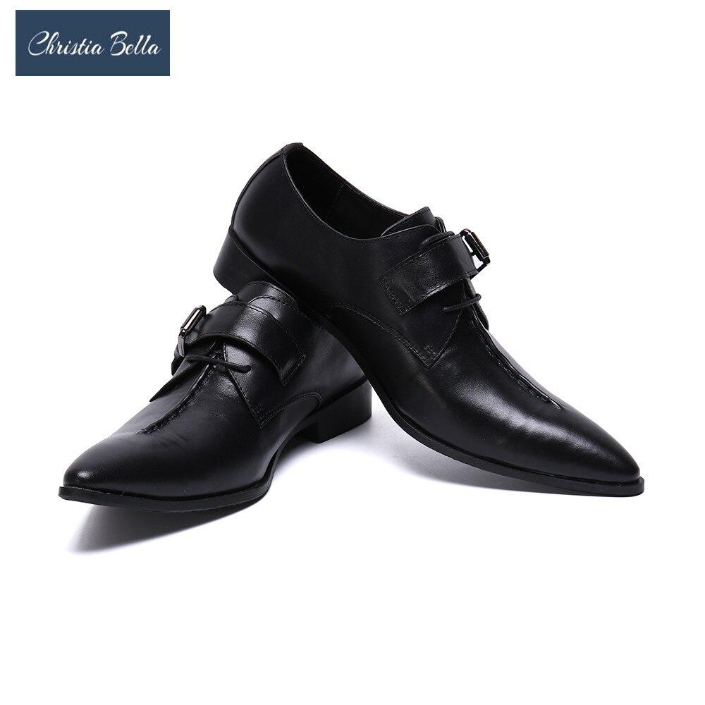 Christia Bella Lage tamaño hombre Brogue zapatos de cuero Real de vestido Formal zapatos de hebilla de Boda del dedo del pie puntiagudo hombre zapatos